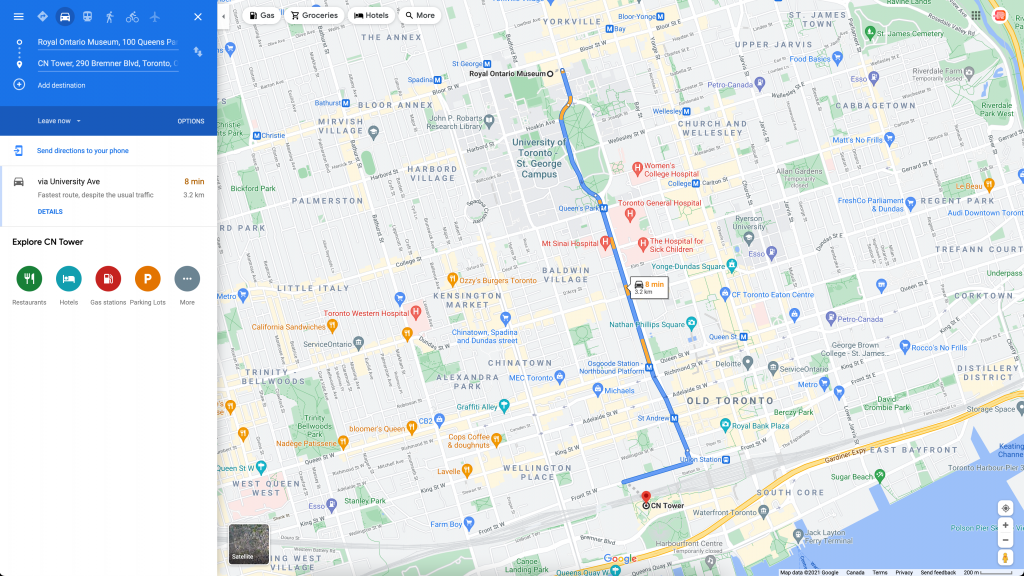 Google Maps route with multiple stops